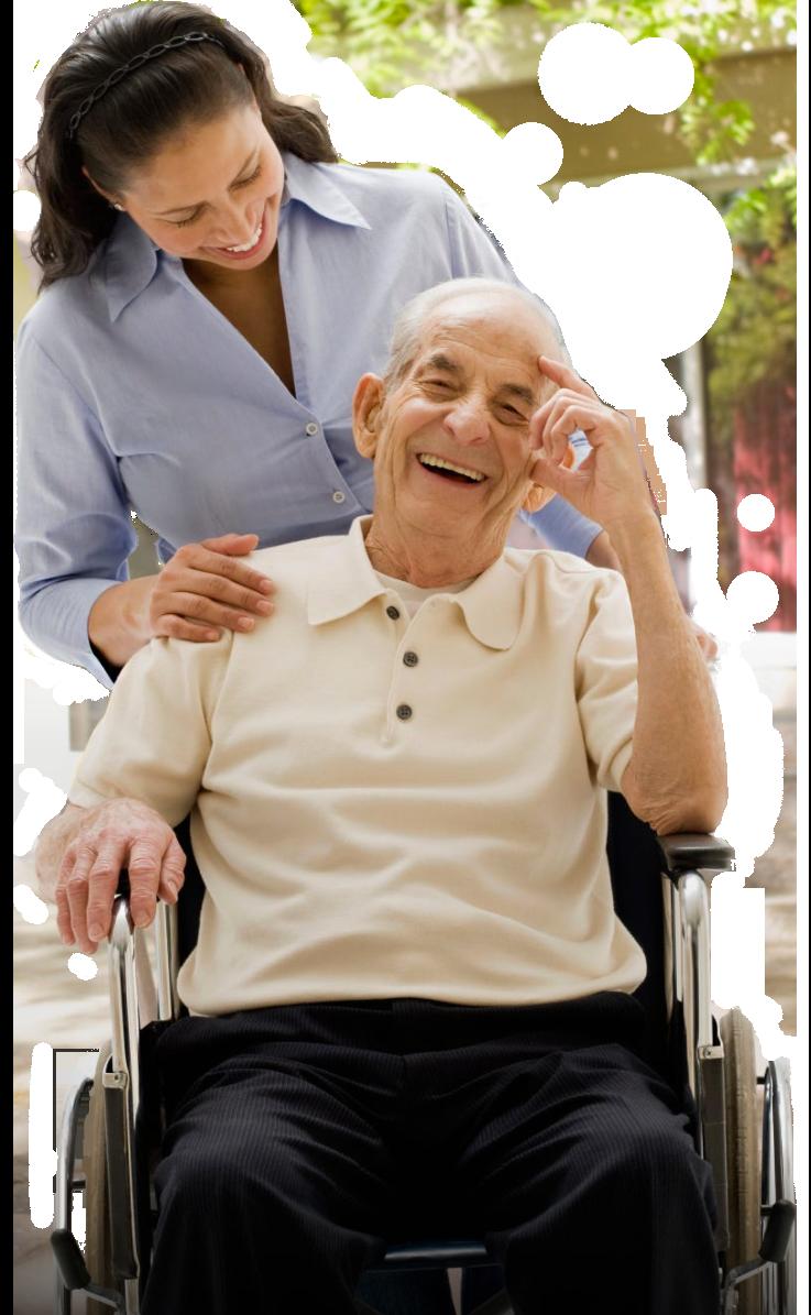 Caregiver helping an elderly in wheelchair